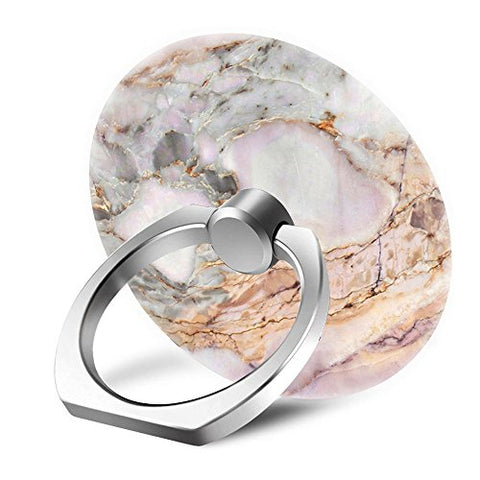 Yaolang White and Gold Marble Cell Phone Finger Ring Holder Stand Grip Mounts with 360° Rotation Silver Ring for Apple/Sumsang Galaxy/LG/Google Pixel/iPad