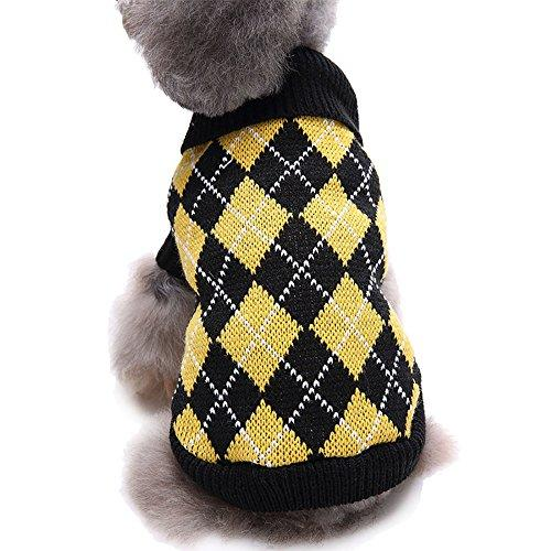 Autumn Yellow Checked Pink Skull Pattern Crochet Knitted Collar