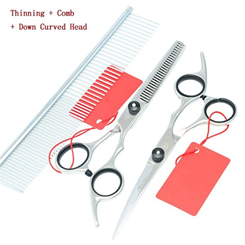 Jiansy Professional Pet Scissors For Dog Grooming Cutting & Thinning & Curved Dog Shears Pet Clipper HB0044 AND HB0046