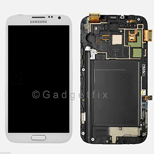 Generic Original Sprint Galaxy Note 2 L900 LCD & Touch Screen Digitizer WHITE Genuine Samsung SCH-L900 Note II Replacement Top Glass Touch Panel, AMOLED OLED Display Screen, Lower Front Navigation Keypad and LCD Back Plate