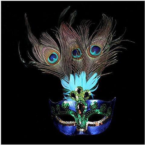 MAZIMARK--Cosplay Peacock Feather Venetian Mardi Gras Masquerade Mask Party Costume Ball