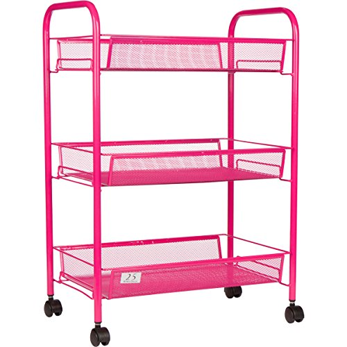 3 Tier Utility Cart, Kitchen Storage with Rolling Wheels, Metal Mesh Wire Basket Trolley, Pink