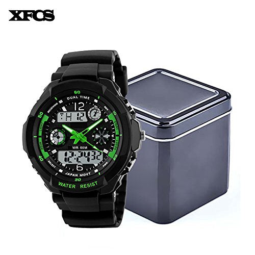 XFCS Waterproof Wrist Digital Automatic Watches For Men Digitais Watch Running Mens Man Digitales Clock(With Retail Metal Box)-Green