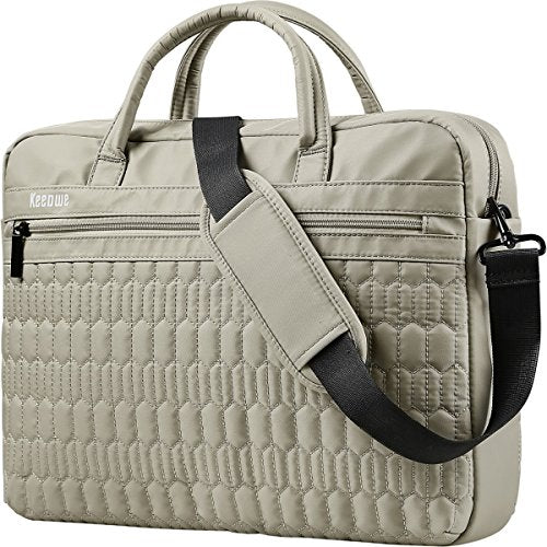 Laptop Bag, KEEPWE Water Resistant Lightweight Nylon Laptop Messenger Shoulder Bag for Women, Men, Work, College, Carrying Laptop Briefcase for Women Men (Khaki)