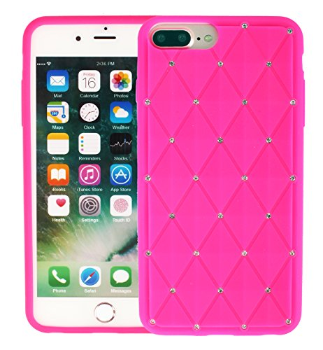 new arrival bb204 22e9a iPhone 7 Plus Silicone Case, iPhone 8 Plus Case, Soft 3D Cartoon Funny  Flexible Protective Cover Gift Design For Teen Girls- Diamond Rose Red