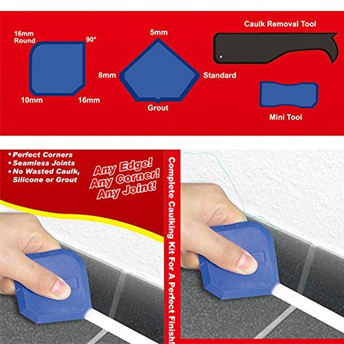 4-Piece Glass Scraper Caulking Tool Kit Caulk Finishing Joint Sealant Silicone Grout Remover Scraper Home Garden Tool