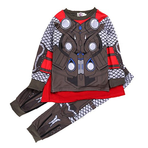 EkarLam® Baby Thermal Underwear Set Children 100% Cotton Suit Pure Color Pajamas For Boy,Thor 100cm/fit 1-2 T