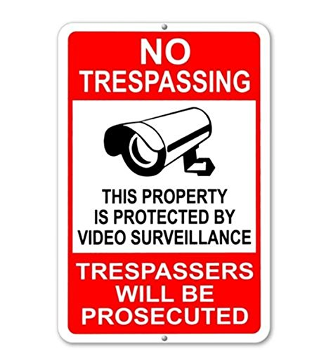 "1-Pc Good Popular No Trespassing This Property Is Protected By Video Surveillance Trespassers Will Be Prosecuted Yard Signs Anti-Robber Anti-Thief Size 7"" x 11"""
