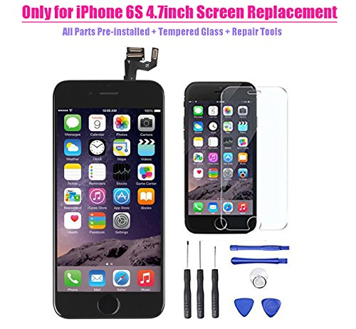 for iPhone 6s LCD Display Screen Touch Digitizer Full assembly Replacement with 3D Touch Panel Home Button Front Camera Ear Speaker Repair Tools Screen Protector, Not fit for iPhone 6S Plus or 6