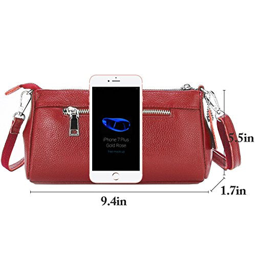 b94b68d592a2 Lecxci Womens Small Soft Leather Crossbody Purse Sling Shoulder Smartphone  Wristlets Bags for Women Girls (