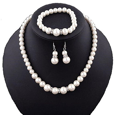 Classic Imitation Pearl Plated Clear Crystal Top Elegant Party Fashion Costume Pearl Jewelry Sets