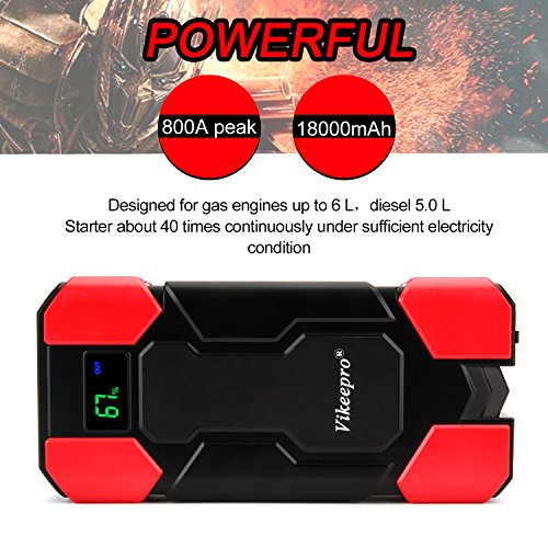 Vikeepro Portable Car Jump Starter 800A Peak 18000mAh Battery Booster Vehicle Emergency Kit, (up to 6.0L Gas or 5.0L Diesel) Auto Battery Pack Phone Power Bank with LCD Display and LED Flashlight SOS
