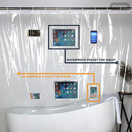 Pluvia Clear Shower Curtain Liner With Waterproof Pockets For Touchscreen Devices TABLETS PHONES