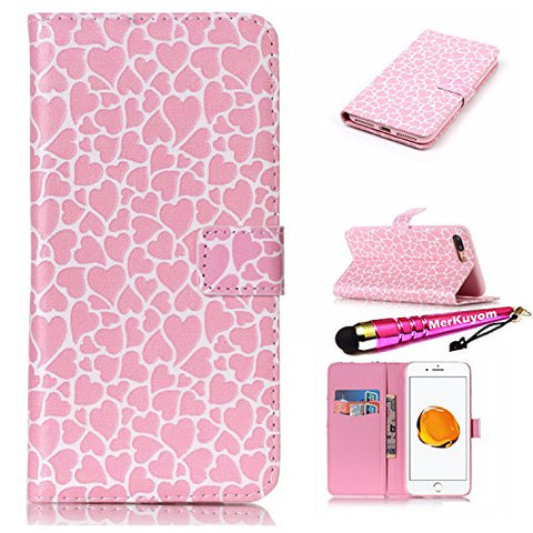 "iPhone 7 Plus - Case, iPhone 8 Plus - Case , MerKuyom [Kickstand] Premium PU Leather Wallet Pouch Flip Cover Case For Apple iPhone 7 Plus / iPhone 8 Plus 5.5"", W/ Stylus (Pink Hearts Print)"