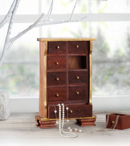 Wooden Chest of 9 Drawers Multipurpose Mini Armoire Jewelry Trinket Girls Accessories Stationary Art Craft Sewing Tools Holder Organizer Box Home Dresser Tabletop Cabinet Furniture