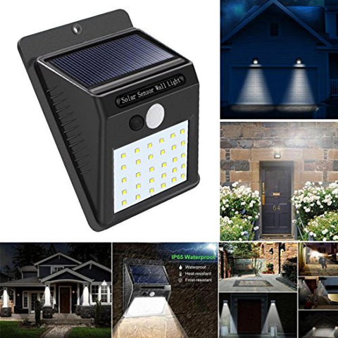 30 LED Solar Powered Wall Light, Iuhan 30 LED Solar Powered Wall Light Motion Sensor Outdoor Garden Security Lamp (Black)