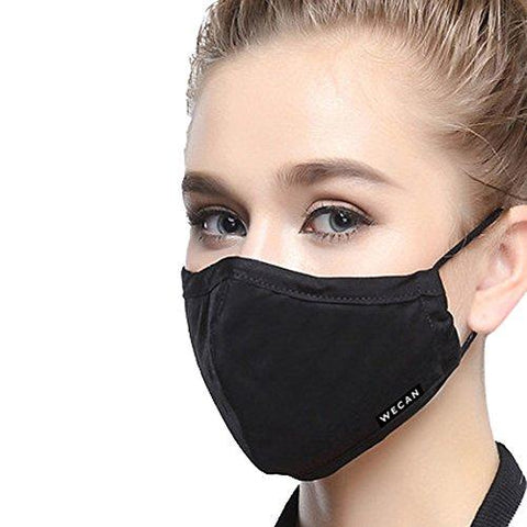 ZWZCYZ Masks Dust Mask Anti Pollution Mask PM2.5 4 Layer Activated Carbon Filter Insert Can Be Washed Reusable Masks Cotton Mouth Mask for Men Women (Medium(Women's), Black)