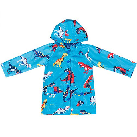 Cris Ti Na Boys' Printed Waterproof Hooded Raincoat Splash Jacket Outwear Blue 5