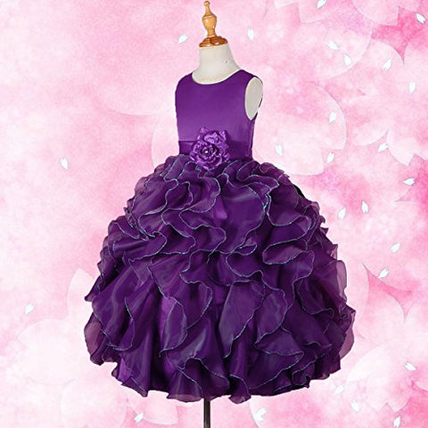 DRESSY DAISY Girls' Satin Organza Ruffle Flower Girl Dresses Pageant Gown Party Occasion Dress Size 4T Dark Purple
