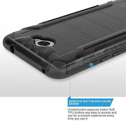 low cost 56b3e d3212 Huawei Ascend XT2 Case, Huawei Elate 4G Case, Huawei H1711 Case, TJS Dual  Layer Hybrid Shockproof Impact Resist Rugged Protection Case Cover Metallic  ...