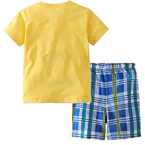 Hsctek Boys' Cotton Clothing Sets, Short Sleeve T-Shirt & Short Sets For Summer(Later Gator, 6T/6-7YRS)