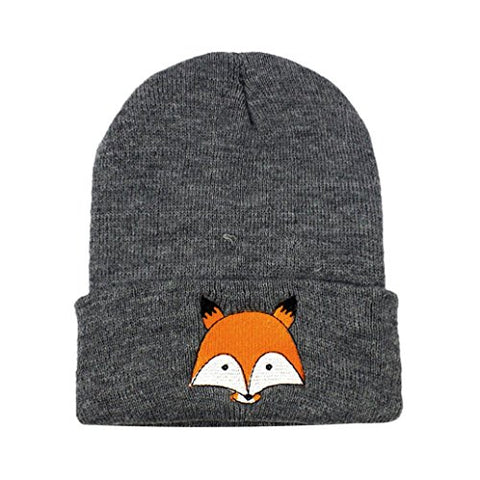 TAORE Toddler Infant Baby Cotton Soft Cute Fox Knit Kids Hat Warm Winter Hats Beanies Cap (Dark Gray)