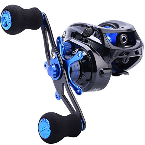 Baitcasting Fishing Reel 7.0:1 Gear - Low Profile Carbon Fiber Drag 9+1 Bearing Dual Magnetic Brakes Fishing Reels (Left)