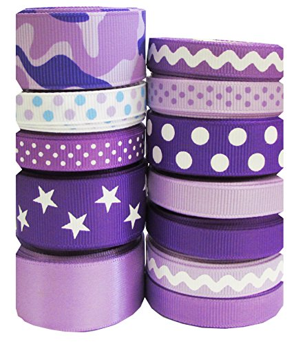 "Hipgirl 60 Yards 3/8""-7/8"" Grosgrain Fabric Ribbon Set For Gift Package Wrapping, Hair Bow Clip Accessory Making, Crafting, Sewing, Wedding Decor, Boy Girl Baby Shower--Purple Tone"