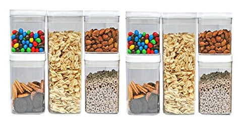 [10-Piece Set] Kitchen Pro 101-Tight Food Storage Container Set - Durable Plastic - BPA Free - Clear Plastic with White Lid