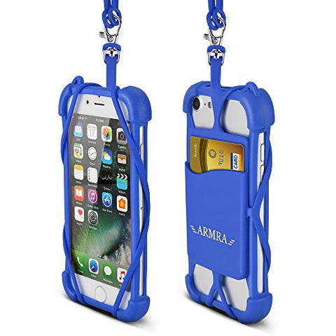2 in 1 Cell Phone Lanyard Neck Strap Case Universal Smartphone Necklace Shockproof Cover with ID Card Slot Holder for iPhone X 8 7 6 6S 5 SE iPod Touch Samsung Galaxy S8 S7 S6 Edge (Dark Blue)