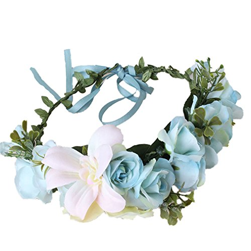 Flower Crown boho Headband Wreath Rose Lily Floral Garland Blue bridal shower Cereoth