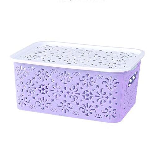 Zehui Kitchen Organizer Clothes Toys Storage Container Creative Plastic Desktop Hollow Storage Basket Underwear Storage Box Small Purple