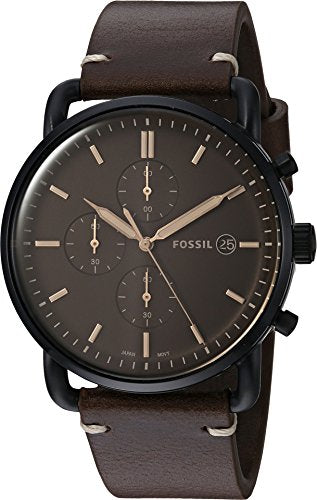 d1e7ac2525e Fossil Men s  The Commuter  Quartz Stainless Steel and Leather Casual  Watch
