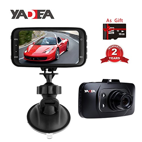 YADEA 1080P HD Dash Cam with Night Vision for Cars DVR Traveling Driving Data Recorder Camcorder Vehicle Sensor Dashboard Camera Recorder with 16GB Memory Card