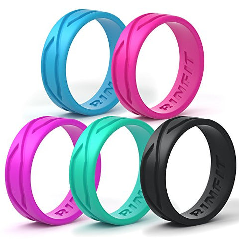 Silicone Wedding Ring For Women - 5 Rings Pack - Designed Medical Grade Silicone Rubber Band by Rinfit - Thin 5.5 mm width - Comes with a Gift Box!