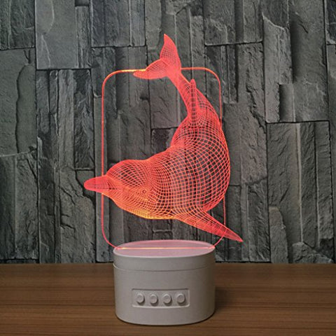 Night Light-3D Illusion LED Dolphin Night Light, USB Rechargeable Battery Touch Switch Color Change Night Light, Children Boys Girls Teen Interior Table Lamp
