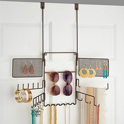 mDesign Hanging Fashion Jewelry and Accessories Organizer for Rings, Earrings, Bracelets, Necklaces, Scarves, Belts - Over Door, 21 Hooks, Bronze
