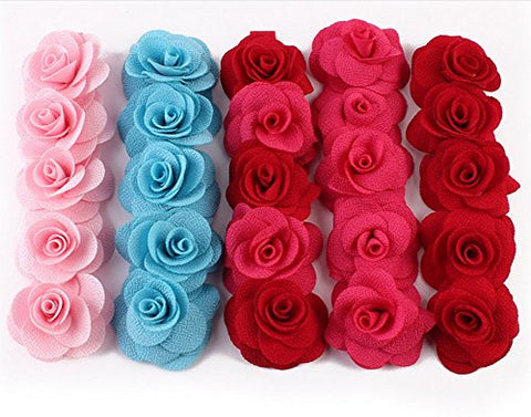 Rose Flower Crown Garland Festival Wedding Hair Wreaths Headbands with Adjustable Ribbon (red)