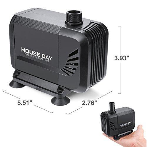 HOUSE DAY 800GPH (3000L/h) 45W Amphibious Submersible Pump Fountain Water  Pump With Dry Burning Prevention Fuction,6 55ft Power Cord,6 Nozzles for