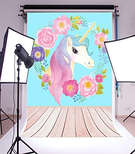 Laeacco 3x5ft Vinyl Photography Background Unicorn Head Cartoon Flower Wreath Watercolor Hand Painting Blue Background Baby Shower Children Birthday Party theme Photo Backgrounds Photo Studio Prop