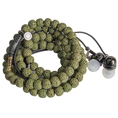 URIZONS Natural Stone Rock Lava Beads Beaded wearable Braided Wristband In Ear Earphones, Headsets with Microphone Remote for iPhone, iPad, Mac, Laptop Android Devices Fabric Bracelet Style (green)
