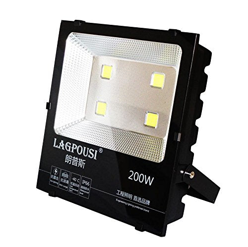 lagpousi 200W Super Bright Outdoor LED Spotlight Lights,1000W Halogen Bulb Equivalent,Waterproof IP66 20000lm,OSRAM LED Chip, Angle of 120 degrees,6000K White,Garden lights,Flood light ,floodlight