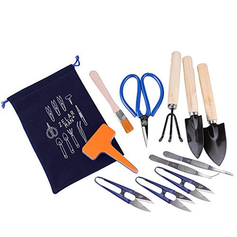 ZELAR MADE Bonsai Tools Set Kit Garden Tools 21 Pcs for Bonsai - Include Pruner,Fold Scissors,Mini Rake,Bud & Leaf Trimmer Set