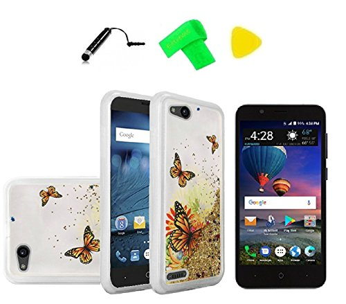 Liquid Glitter Cover Phone Case + Screen Protector + Extreme Band + Stylus  Pen + Pry Tool For ZTE ZFive G C Z557BL Z558VL (Liquid Gold Butterfly)