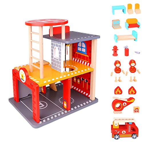 Fire Station Playset And Fire Truck Premium Doll Houses Series 22 Piece Wooden Fire Station Playset