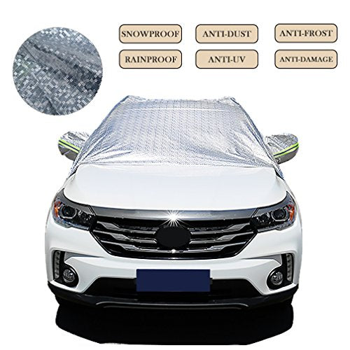 Car Covers Windshield Snow Ice Frost Cover for Winter Sun Heat Protection Universal Waterproof Half Car Auto Cover Dustproof Anti UV Scratch Resistant Cover (sliver)