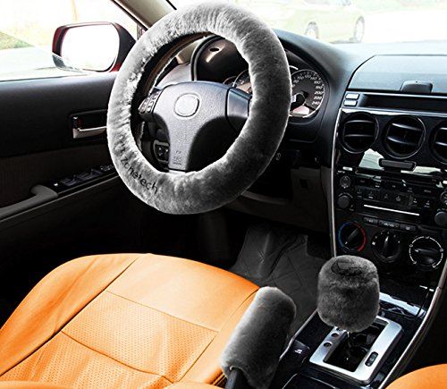Zone Tech Non-slip Car Decoration Steering Wheel Handbrake Gear Shift Plush Cover – Auto Comfortable Thermal Steering Wheel Cover (Gray)