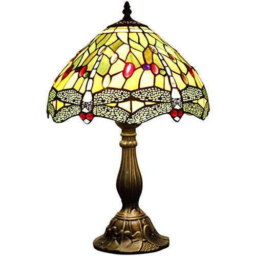 WERFACTORY S52112T02 12inch Wide 18inch Tall , Tiffany Style Dragonfly  Table Lamp (E26 Bulb Led
