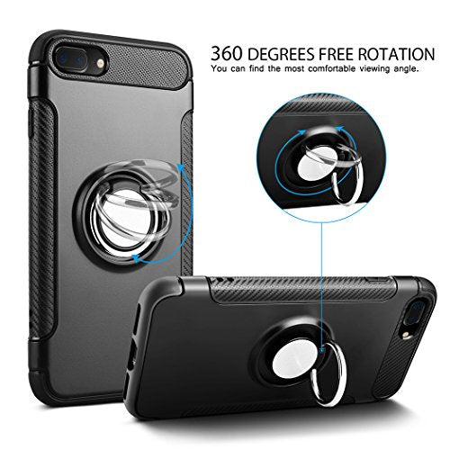 pretty nice 52fbe 438fa Besiva iPhone 8 Plus Case, iPhone 7 Plus Case, Ultra Slim Cover Case with  360 Degree Swivel Ring Kickstand Durable Anti Scratch Protective Case for  ...