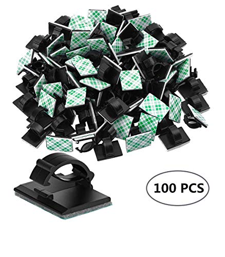 Black Cable Clips Adhesive,Cable Management Clips 3m Cable Clips Cable Clips Cord Organizer Usb Cable Clip Wire Clips For Office And Home (100 Pieces)